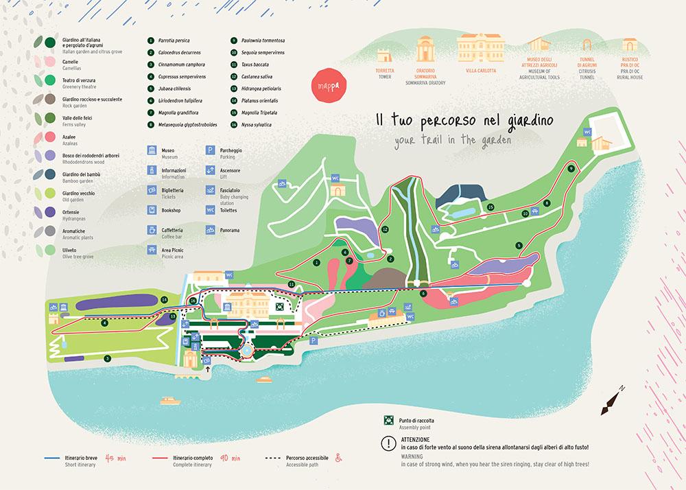 villa carlotta giardini botanici mappa