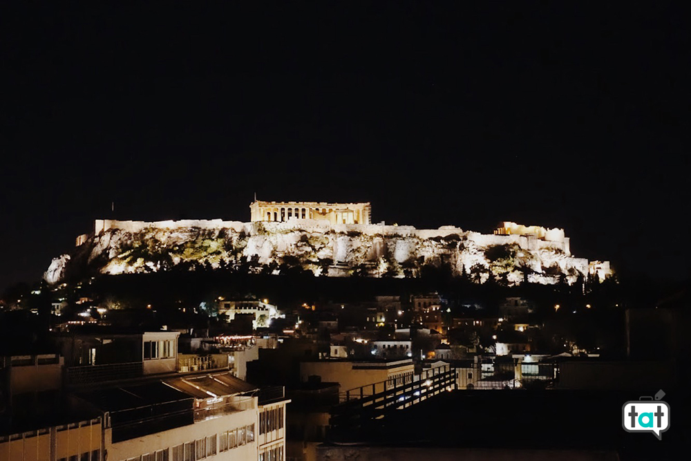 Vista serale terrazza Atene
